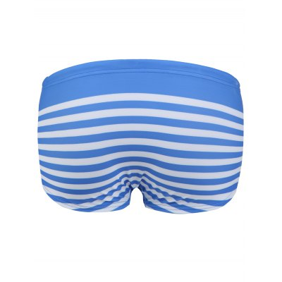 Stripe Letter and Anchor Print Lace-Up Design Swimming Trunks For Men