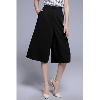 High Waist Wide Leg Pants with Pockets