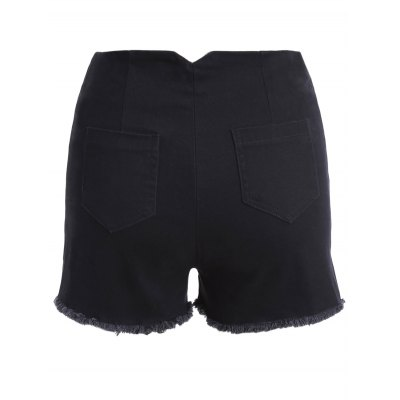 Stylish Solid Color Slit High Waist Mini Shorts For Women