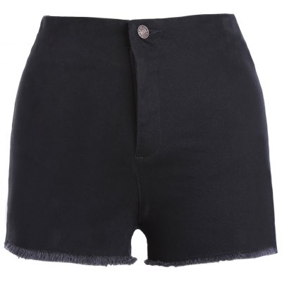 Solid Color Slit High Waist Mini Shorts For Women