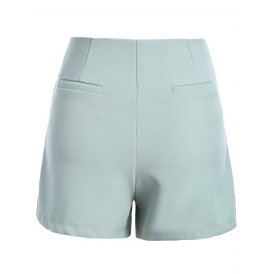 Casual Solid Color Zipper Fly Shorts For Women