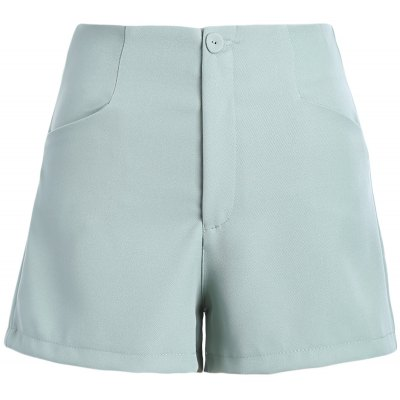 Casual Solid Color Zipper Fly Chino Shorts
