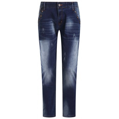 Ripped Zip Fly Straight Legs Men's Cropped Jeans