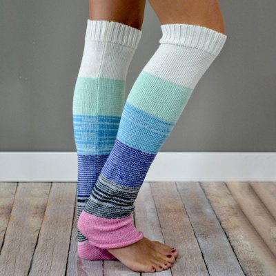 Pair of Chic Buttons Hazy Stripe Pattern Knitted Leg Warmers For Women