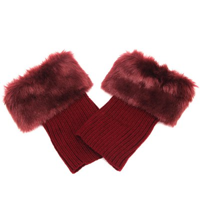 Faux Fur Trim Toppers Liner Stretch Short Knitted Boot Cuffs For Women