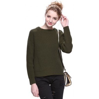 Round Neck Solid Color Pullover Sweater