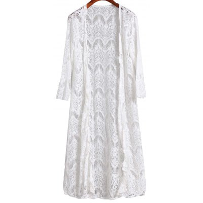 3/4 Sleeve Mesh Long Cover Up