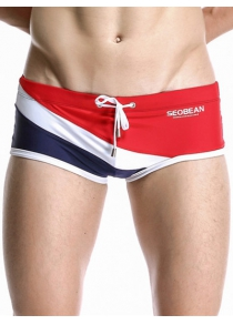Spliced Lace-Up Design Swimming Trunks For Men