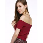 Contracted Flat Shouders Slim T-Shirt For Women deal
