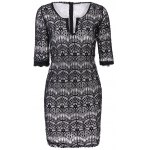 Fashionable Plunging Neckline 3/4 Sleeve Lace Dress For Women