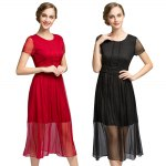 Short Sleeve High Waisted Solid Color Dress photo