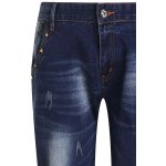 Fashion Ripped Zip Fly Straight Legs Men's Cropped Jeans deal