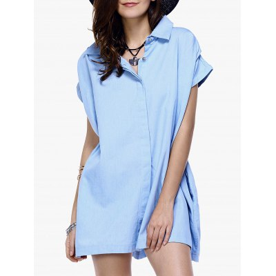 Button Loose-Fitting Chambray Shirt Dress For Women