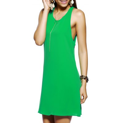 Round Collar Bow Back Out Dress For Woman