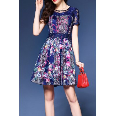 Lace Splicing Hollow Out Dress
