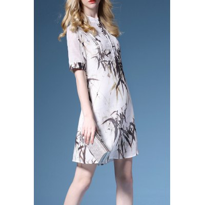 Bamboo Print Stand Collar Shirt Dress