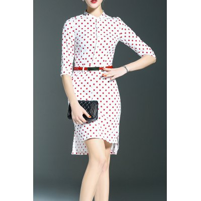 Polka Dot Print Stand Collar High Low Dress