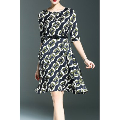 Printed Belted A Line Dress