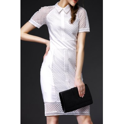 Hollow Out Flat Collar Bodycon Dress