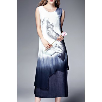 Double Layer Ink Painting Tank Dress