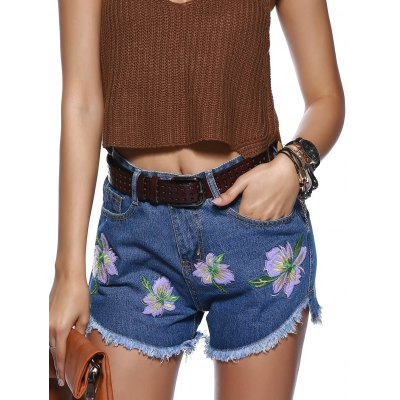 Floral Embroidery High Low Hem Denim Shorts