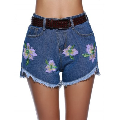 Chic Women's Floral Embroidery High Low Hem Demin Shorts