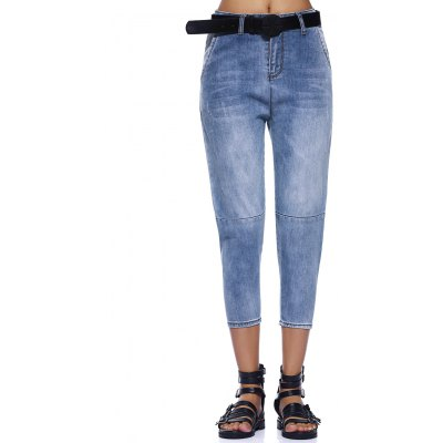 Bleach Wash Frayed Skinny Jeans For Women