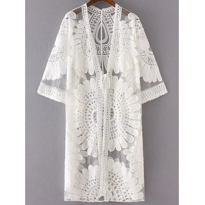 Fashion 3/4 Sleeve Sun Flower Embroidery Lace Cardigan For Women