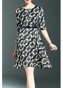 Belted Printed A Line Dress