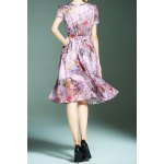 Flower Print Chiffon Dress with Belt for sale