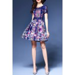 Lace Spliced Print Dress for sale