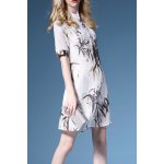 Stand Collar Bamboo Print Shirt Dress
