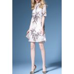 Stand Collar Bamboo Print Shirt Dress deal