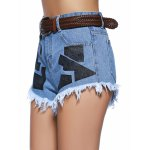 cheap Chic Women's Geometrical Raw Hem Denim Shorts