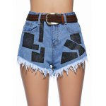 Chic Women's Geometrical Raw Hem Denim Shorts