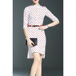 Stand Collar Polka Dot Print High Low Dress