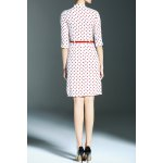 cheap Stand Collar Polka Dot Print High Low Dress
