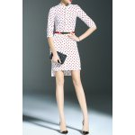 Stand Collar Polka Dot Print High Low Dress deal