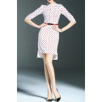 Stand Collar Polka Dot Print High Low Dress for sale
