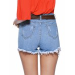 Chic Women's Floral Embroidery Raw Hem Denim Shorts deal
