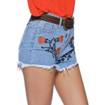 cheap Chic Women's Floral Embroidery Raw Hem Denim Shorts