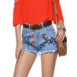 Chic Women's Floral Embroidery Raw Hem Denim Shorts