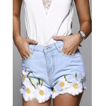 High Waisted Jeans Shorts With Lace Hem