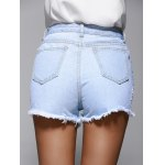 Chic Women's High Waist Denim Shorts With Lace Hem for sale