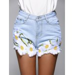 cheap High Waisted Jeans Shorts With Lace Hem