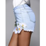 High Waisted Jeans Shorts With Lace Hem deal