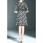 cheap Belted Printed A Line Dress