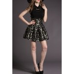 Flat Collar Butterfly Pattern Flared Dress for sale