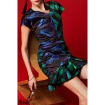 cheap V Neck Palm Print Mermaid Dress