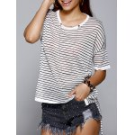 Fashionable Round Neck Striped Asymmetrical Loose-Fitting Women's Knitwear